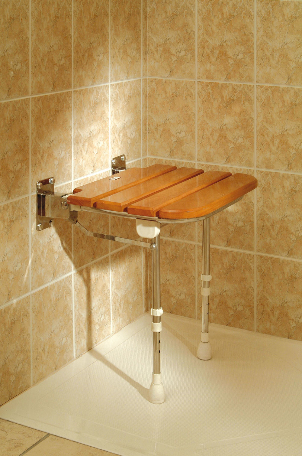 Fold up wooden slatted seat with legs shower seats wall