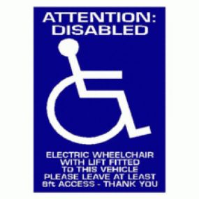 Attention: Disabled Electric Wheelchair With Lift Fitted To This Vehicle Please Leave At Least 8ft Access -Car Sticker 37