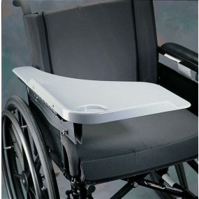 Flip Away Half Lap Wheelchair Tray - Grey Right Side