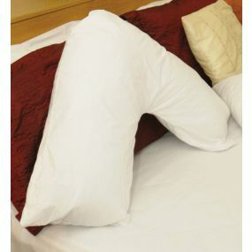 V Shaped Fibre Filled Smooth Fabric Cover Orthapedic Pillow - White (29x24x22