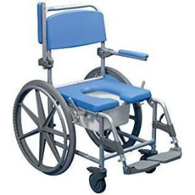 Aston Wheeled Alloy Shower / Commode Chair- Self Propelled