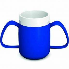 Ornamin Two Handled Mug + Internal Cone - Blue & White