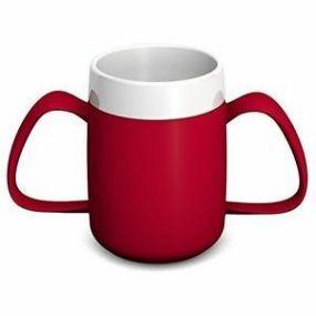 Ornamin Two Handled Mug + Internal Cone - Red & White