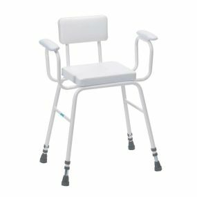 Perching Stool - Adjustable Height (Padded Arms and Padded Back in White)