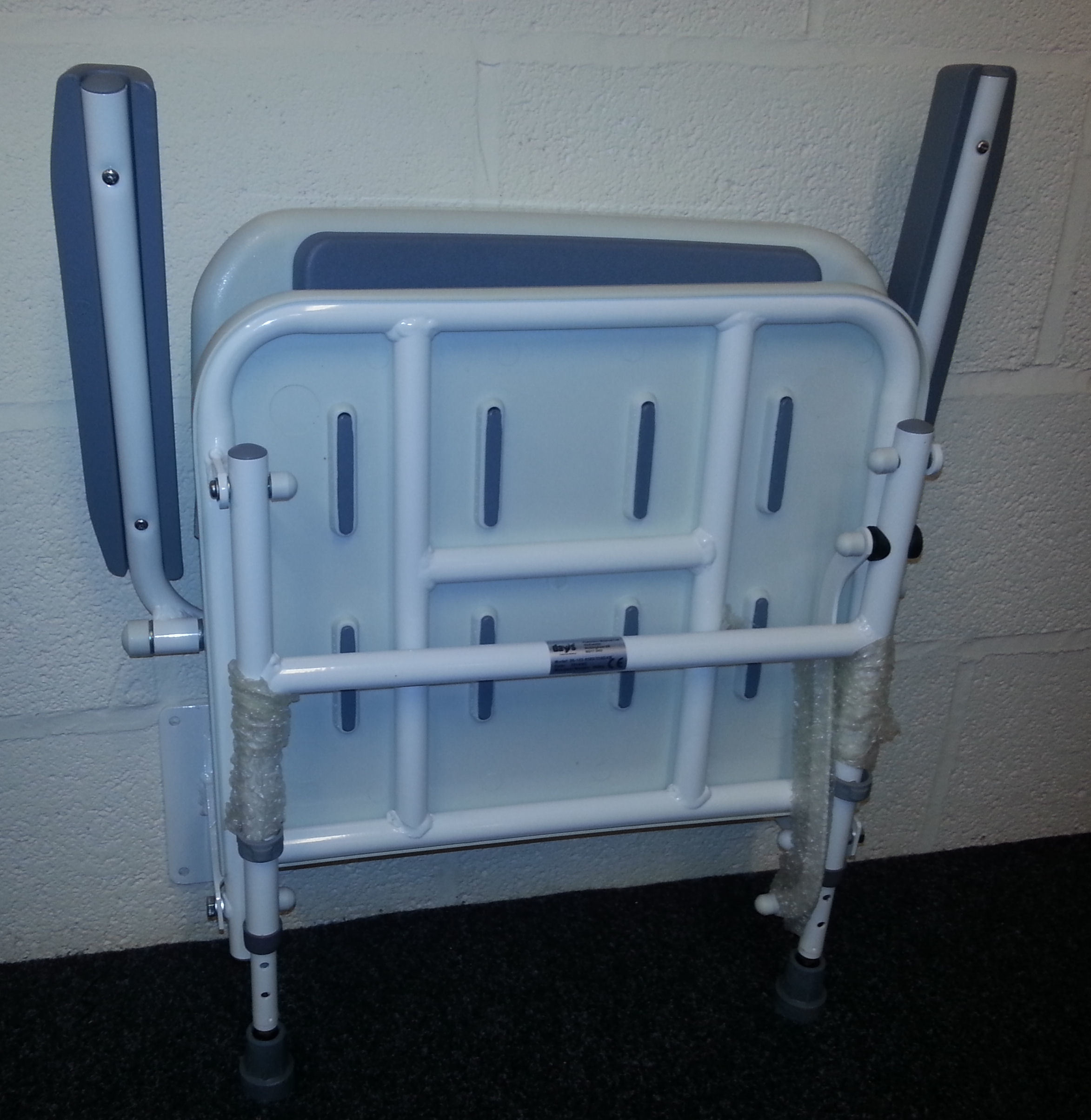 Fold Down Shower Seat with Arms Legs & Backrest - Shower Seats (Wall ...