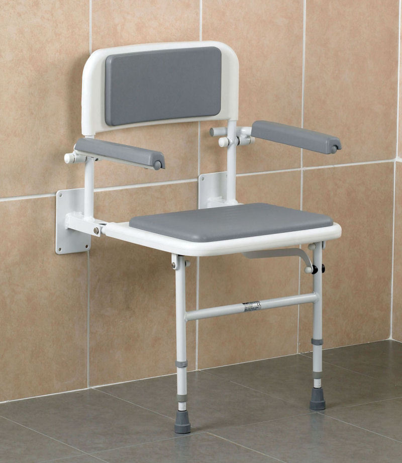 Fold Down Shower Seat with Arms Legs & Backrest - Shower Seats ...