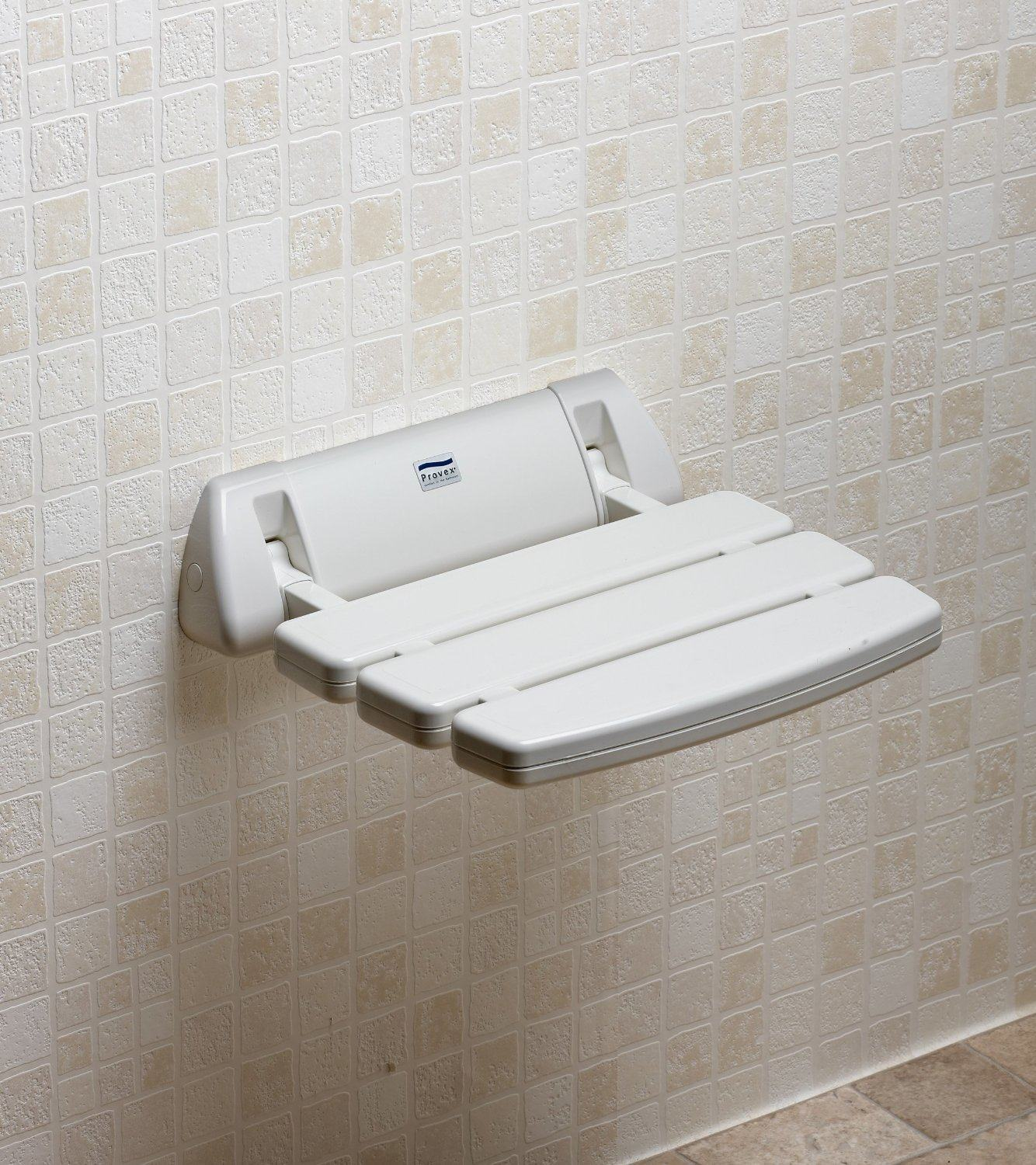 Promed Wall Mounted Folding Slatted Shower Seat Shower
