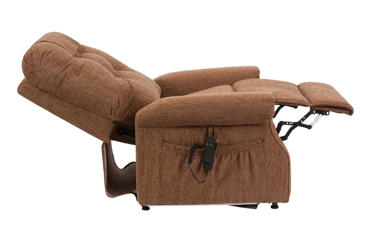 Serena riser recliner chair button back cinnamon for Chair risers