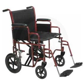 Bariatric Steel Transport Chair  **Only Available In Black**