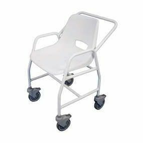 Mobility Smart Mobile Shower Chair with Castors Adjustable Height - 4 Brakes