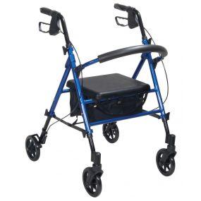 Lightweight Aluminium Rollator With Adjustable Seat - Blue