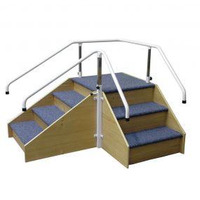 Corner Steps With Adjustable Handrails