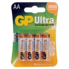 GP Ultra Alkaline Batteries - Type AA (PK4)