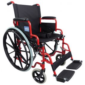 Self Propelled Steel Transit Chair - Red