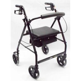 Lightweight Aluminium Rollator With Bag (8 Inch Wheels) - Black