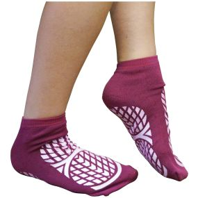 Double Sided Non Slip Patient Slipper Socks - Size 7.5-9.5 (Purple)
