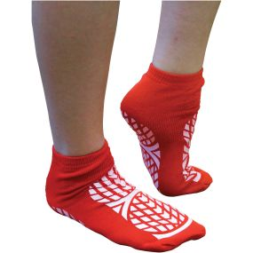 Double Sided Non Slip Patient Slipper Socks - Size 7.5-9.5 (Red)