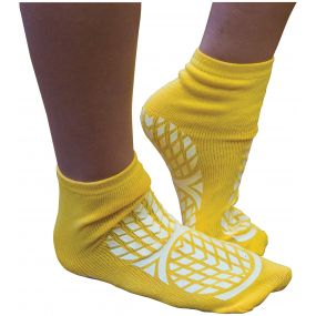 Double Sided Non Slip Patient Slipper Socks - Size 4-7 (Yellow)